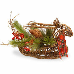 National Tree Co. Handcrafted Wood Christmas Deer Animal Figurines