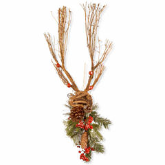 National Tree Co. Handcrafted Wood Deer With Pine Cones Animal Figurines