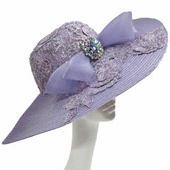 Whittall & Shon Derby Hat Large Cartwheel W Lace Trim  Bow And Bro
