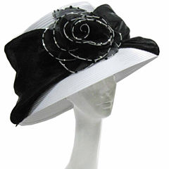 Whittall & Shon Derby Hat Large Lampshade Brim With Organza Rosette