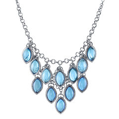 Tonal Blue Navette Bib Necklace