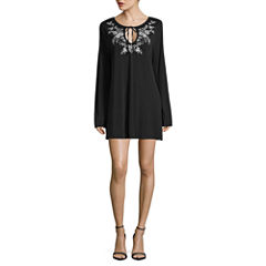 Trixxi Long Sleeve Embroidered Peasant Dress-Juniors