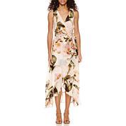 Sangria Sleeveless Belted High-Low Maxi Dress-Petites