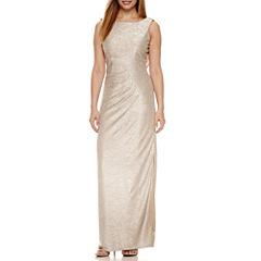 Blu Sage Sleeveless Drape Back Evening Gown-Petites