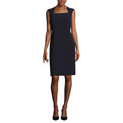 Black Label by Evan-Picone Sleeveless Square Neck Sheath