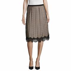 Worthington Lace Trim Pleated Skirt