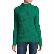 Liz Claiborne Cable Boxy Mockneck Sweater-Talls