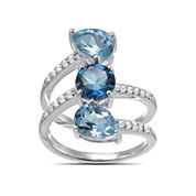 Womens Blue Topaz Sterling Silver 3-Stone Ring