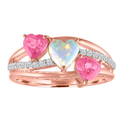 Lab-Created Opal and Pink & White Sapphire 14K Gold over Silver Triple Heart Ring
