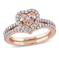 Womens 1 CT. T.W. Pink Morganite 10K Gold Bridal Set