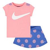 Nike Girls 2-pc. Short Sleeve Short Set