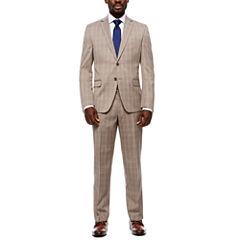 Collection by Michael Strahan Taupe Glenplaid Suit Separates- Classic Fit