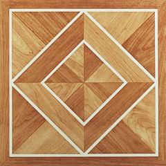 Nexus White Border Classic Inlaid Parquet 12x12 Self Adhesive Vinyl Floor Tile - 20 Tiles/20 Sq Ft.