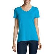 St. John`s Bay Short Sleeve V Neck T-Shirt