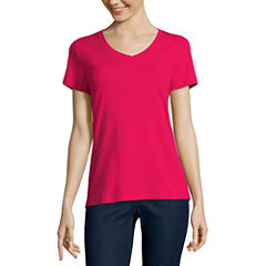 St. John's Bay Short Sleeve V Neck T-Shirt-Womens