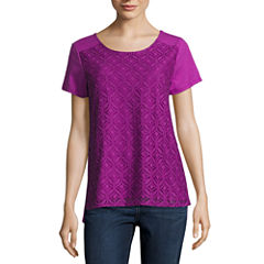 St. John's Bay Short Sleeve Draped Neck T-Shirt-Womens