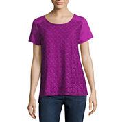 St. John`s Bay Short Sleeve Draped Neck T-Shirt
