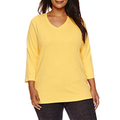St. John's Bay 3/4 Sleeve V Neck T-Shirt-Womens Plus