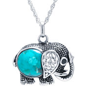 Turquoise Sterling Silver Elephant Pendant Necklace