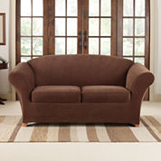 SURE FIT® Stretch Piqué 2 Seat Individual Cushion Loveseat Cover