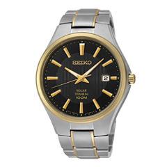 Seiko® Mens Two-Tone Titanium Solar Watch SNE382