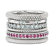 Personally Stackable Aquamarine or Lab-Created Ruby Sterling Silver Rings