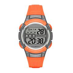 Womens Grey Case Orange Plastic Strap Digital Watch