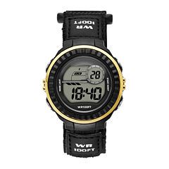 Womens Gold Bezel Black Plastic Strap Digital Watch