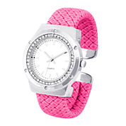 Womens Crystal-Accent Pink Faux Leather Cuff Bangle Watch