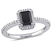 Womens 1 1/5 CT. T.W. Emerald Black Diamond 10K Gold Engagement Ring
