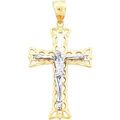 14K Two-Tone Gold Crucifix Pendant