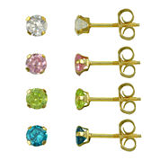 Girls 14K Gold Multicolor Cubic Zirconia 4-pr. Earring Set