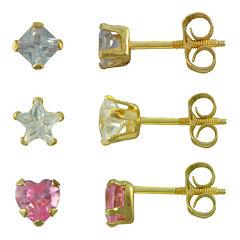 Girls 14K Gold Multicolor Cubic Zirconia 3-pr. Earring Set