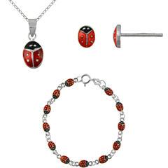 Girls Sterling Silver Ladybug 3-pc. Jewelry Set