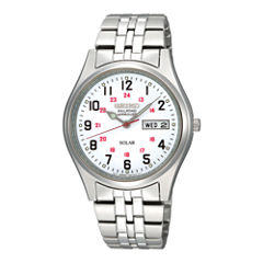 Seiko® Railroad Approved Mens White Dial Stainless Steel Solar Watch SNE045
