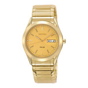 Seiko® Mens Champagne Dial Gold-Tone Stainless Steel Solar Watch SNE058