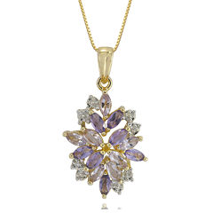 Genuine Amethyst, Pink Quartz & Lab-Created White Sapphire Flower Pendant Necklace in 14K Gold over Silver