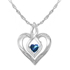Love in Motion™ Lab-Created Sapphire and Diamond-Accent Heart Pendant Necklace
