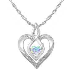 Love in Motion™ Lab-Created Opal and Diamond-Accent Heart Pendant Necklace