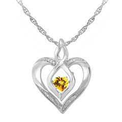 Love in Motion™ Genuine Citrine & Diamond-Accent Sterling Silver Heart Pendant