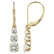Cubic Zirconia Triple-Drop 14K Yellow Gold Earrings