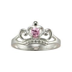 Disney Girls Pink Cubic Zirconia Princess Crown Ring