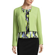 Black Label by Evan-Picone Long Sleeve Bolero Jacket with Sleeveless Pleat Neck Blouse