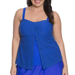Aqua Couture Crochet Bandeau Swimsuit Top-Plus