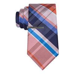 J.Ferrar Navy Open Plaid Tie With Tie Bar