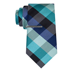 J.Ferrar Navy Ground Gingham Tie With Tie Bar