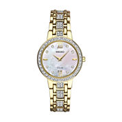 Seiko Crystal Womens Gold Tone Bracelet Watch-Sup364