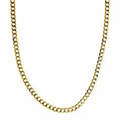 14K Two Tone 3.65MM Diamond Cut Curb Necklace 20