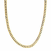 14K Two Tone 3.65MM Diamond Cut Curb Necklace 26