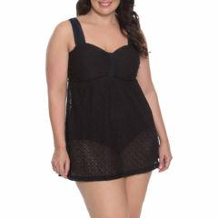 Aqua Couture Crochet Swim Dress Plus